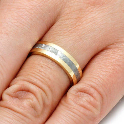 Yellow Gold Wedding Band with Gibeon Meteorite-2817 - Jewelry by Johan