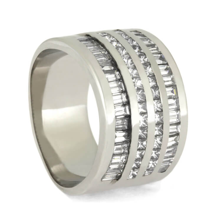 Diamond Wedding Band, Platinum Ring With Baguette and Princess Cut Diamonds-2486