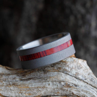 Sandblasted Titanium Wedding Band With A Thin Bloodwood Pinstripe-2688 - Jewelry by Johan