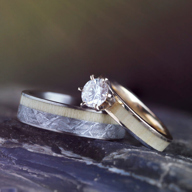 Aspen Wood Wedding Ring Set Yellow Gold Moissanite Engagement