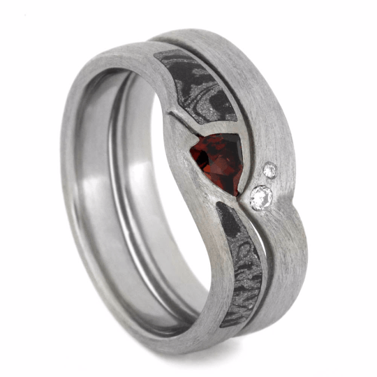 Garnet and Diamond 10k White Gold Bridal Set with Mokume-2178 - Jewelry by Johan