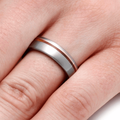 Titanium Wedding Band With 14k Yellow Gold and Sindora Wood-2085 - Jewelry by Johan