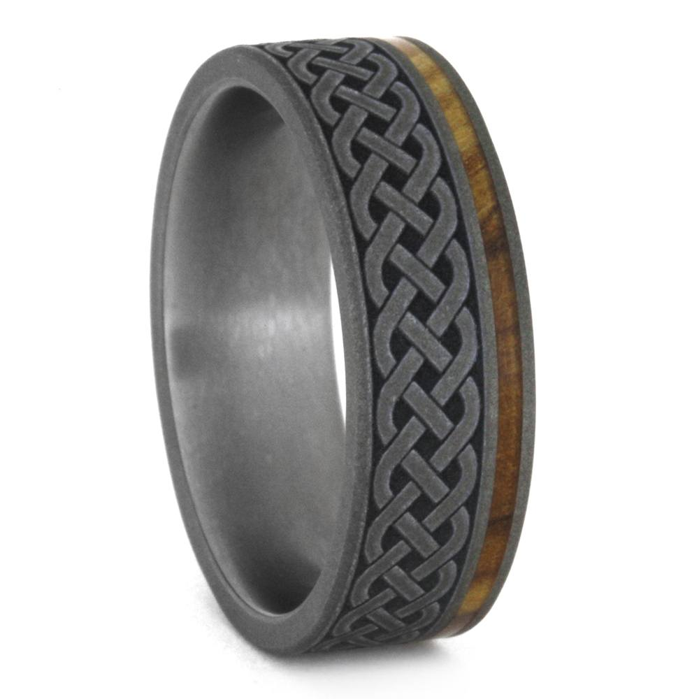 Celtic Knot Ring, Mens Wood Wedding Band With Engraving, Titanium Ring-3348 - Jewelry by Johan