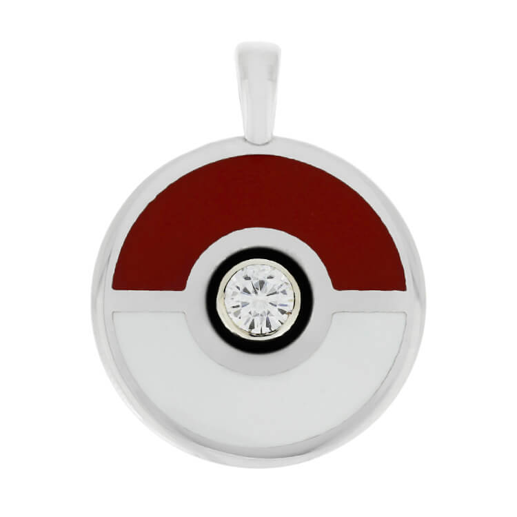 Pokemon Pendant, Pokeball Necklace With Moissanite-2682 - Jewelry by Johan