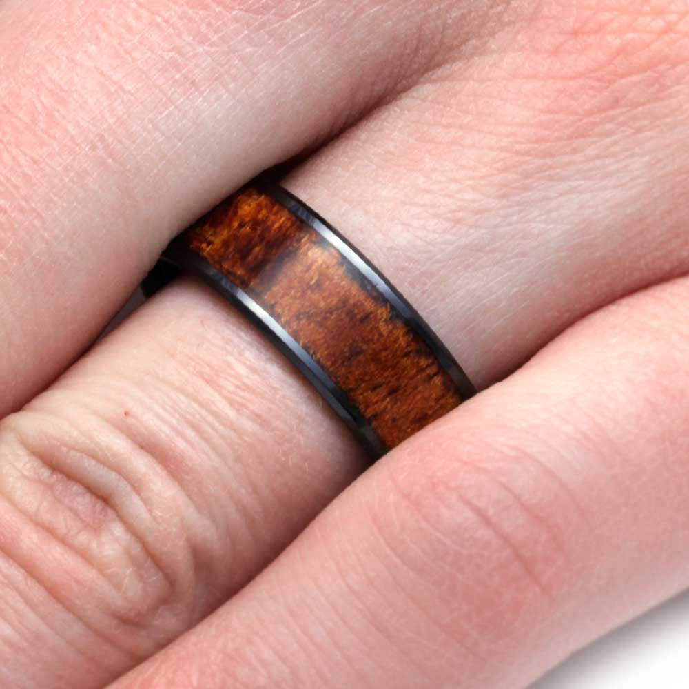 Wood Ring in Black Ceramic Wedding Band, Koa Wood - Jewelry by Johan