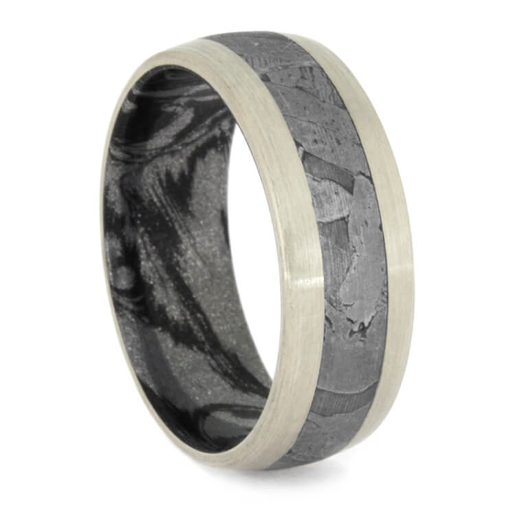 Seymchan Meteorite Men's Ring, Brushed White Gold Band With Mokume Sleeve