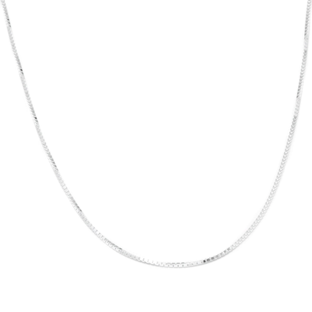 "22"" Adjustable Box Chain Necklace in Sterling Silver-CH900:101:P"