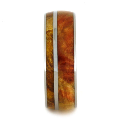 Colorful Box Elder Burl Wood Wedding Band