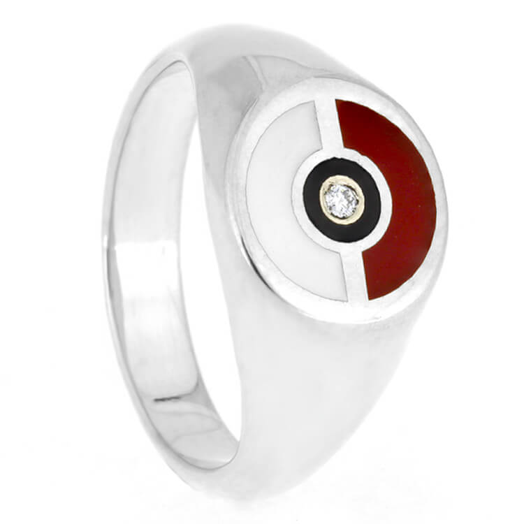 Pokemon Engagement Ring, Pokeball Ring In Signet Ring Style, Moissanite Center Stone-2680