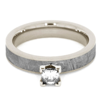 Forever One Moissanite Engagement Ring with Meteorite in White Gold-2146 - Jewelry by Johan