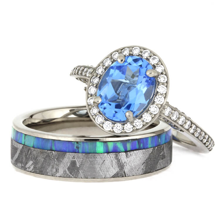 Famous Gibeon Meteorite Wedding Ring Set, Topaz Engagement Ring With Opal  NC74