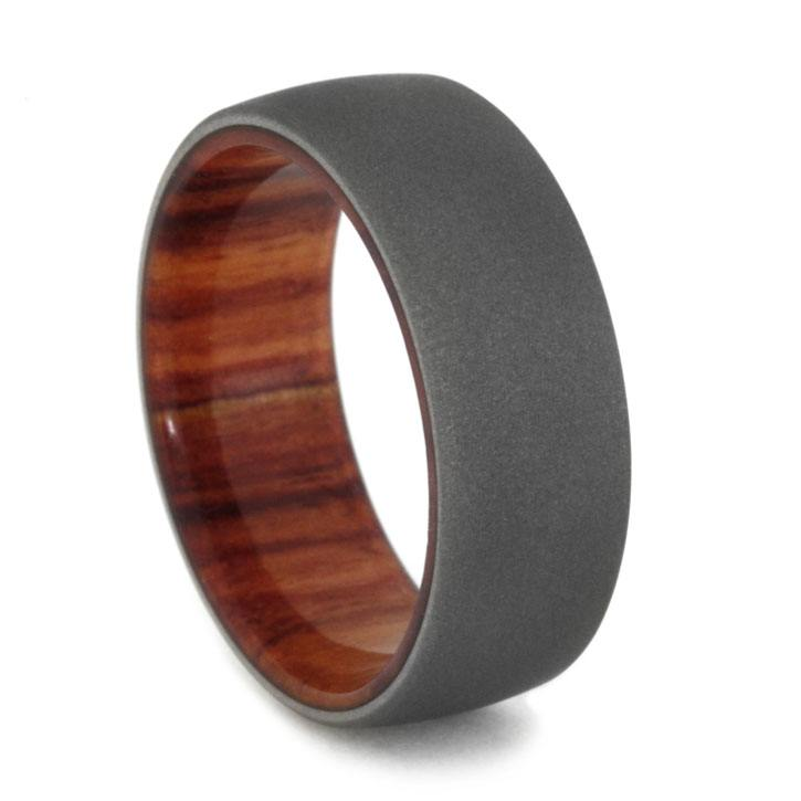 Sandblasted Titanium Ring with Tulipwood Sleeve, Size 7.25-RS10400 - Jewelry by Johan