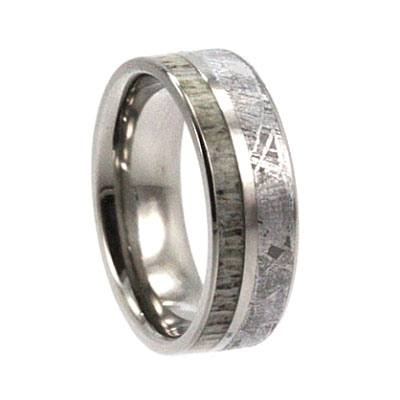 Meteorite and Antler Wedding Band
