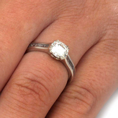 Moissanite Engagement Ring in White Gold With Antler Prongs-3206 - Jewelry by Johan
