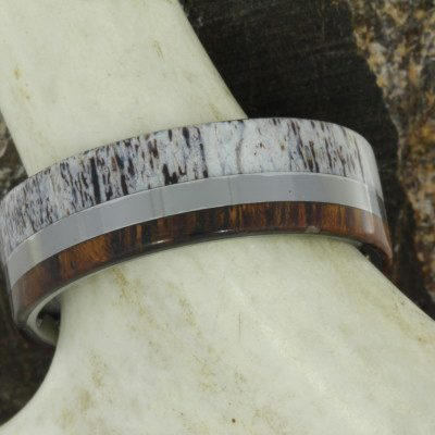 Titanium Ring With Ironwood and Deer Antler-1493 - Jewelry by Johan