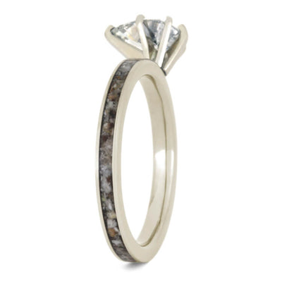 Pear Moissanite Engagement Ring With Antler In White Gold-2362 - Jewelry by Johan