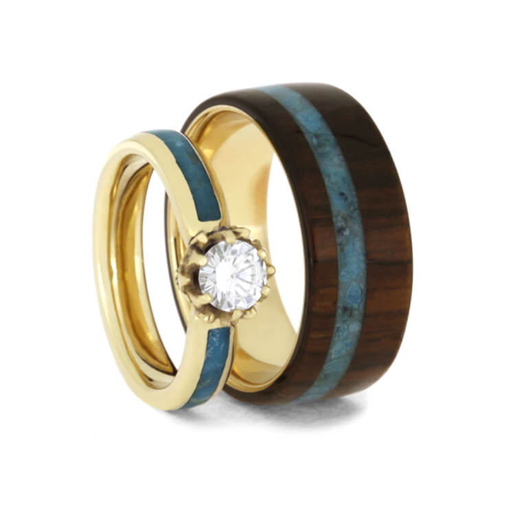 Turquoise Wedding Ring Set, Moissanite Ring With Wood Band