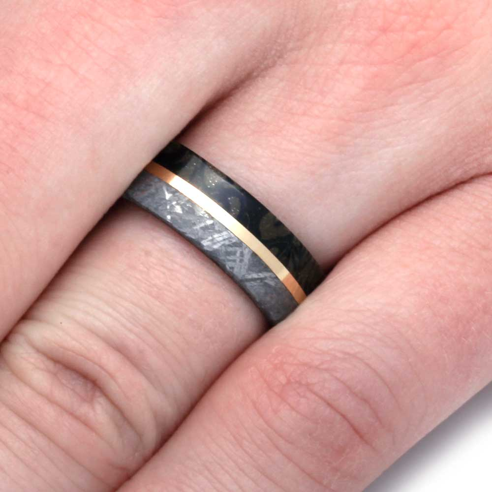 Meteorite Wedding Band With Composite Mokume and Yellow Gold ...