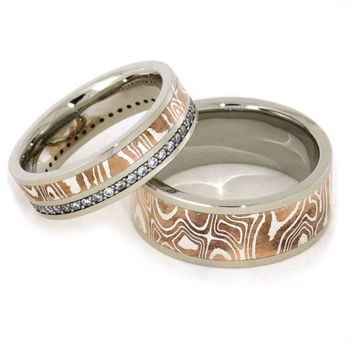 oxidized ash diamonds in il rings mokume with guri products black white bori ring