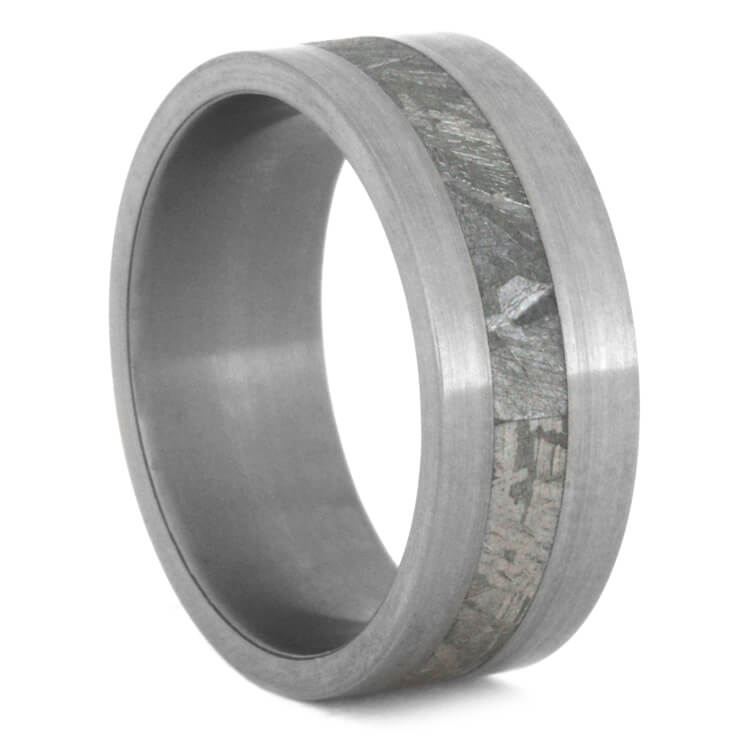 Meteorite Wedding Band With Brushed Titanium Finish, Size 8.5-RS8474 - Jewelry by Johan