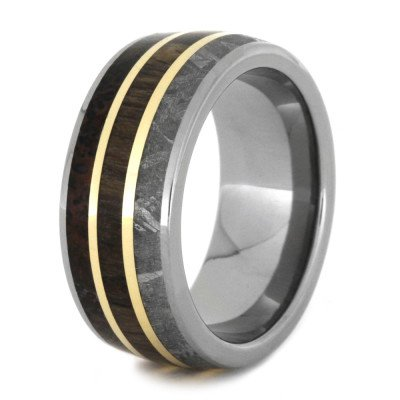 Mens Wedding Band with Petrified Wood, Meteorite, & Dinosaur Bone-2173 - Jewelry by Johan