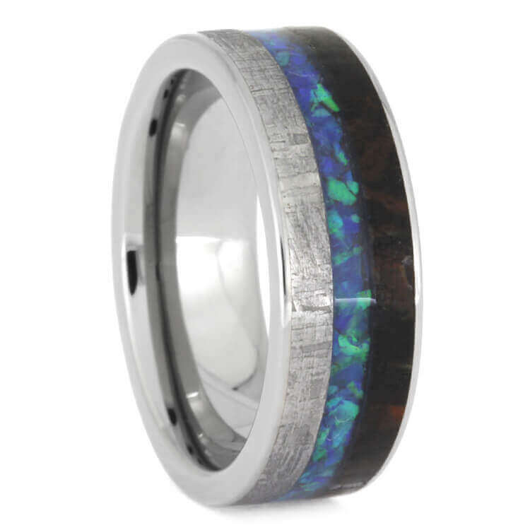 Crushed Opal, Meteorite And Dino Bone Wedding Band, Size 7.5-RS9813 - Jewelry by Johan