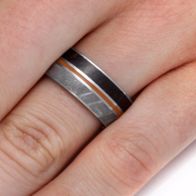 Titanium Ring With Dinosaur Bone, Meteorite & Orange Enamel-2122 - Jewelry by Johan