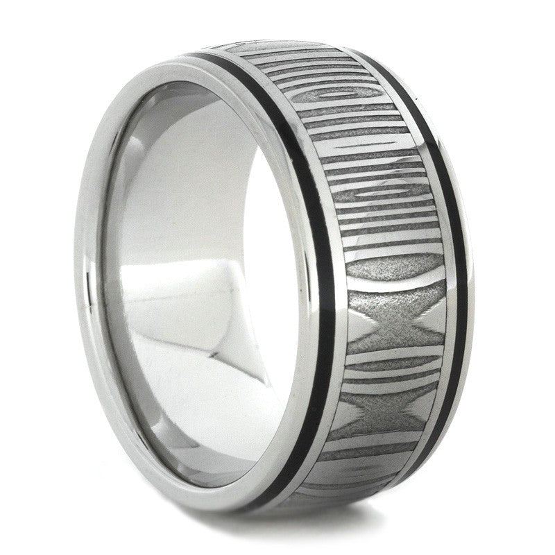 Damascus Steel Ring in White Gold with Black Enamel Stripes-1727 - Jewelry by Johan