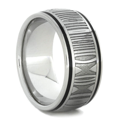 Damascus Steel Ring in 10k White Gold with Black Enamel Stripes-1727 - Jewelry by Johan