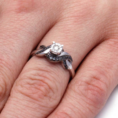 White and Black Diamond Engagement Ring in Sterling Silver On a Hand