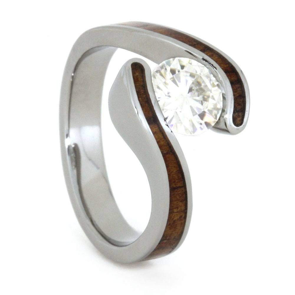 Wood Engagement Ring with Moissanite Stone and Koa Wood-3241 - Jewelry by Johan