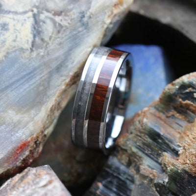 Crushed Obsidian Wedding Band With Ironwood, Tungsten Ring With Titanium-3697 - Jewelry by Johan