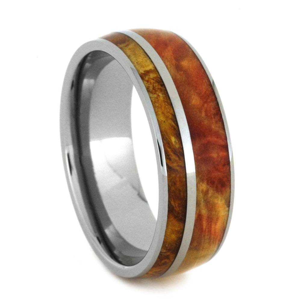 Wood Wedding Band With Flame And Gold Box Elder Burl-2905 - Jewelry by Johan