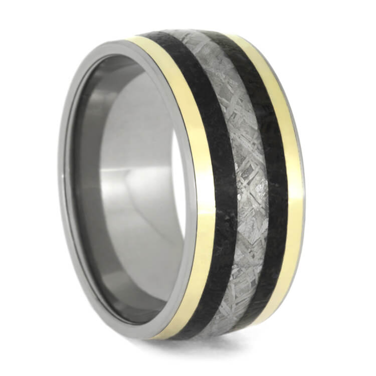 Meteorite And Dino Bone Ring With Yellow Gold Stripes, Size 13-RS9713 - Jewelry by Johan