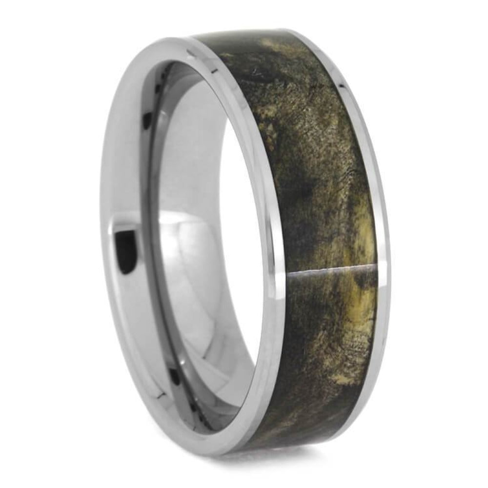 Buckeye Burl Wood Wedding Band, Beveled Tungsten Ring-2609