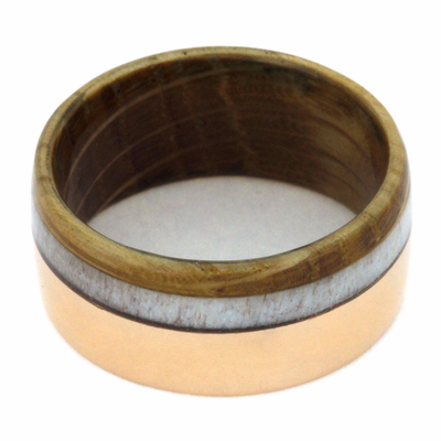 Rose Gold Men's Band With Antler And Whiskey Barrel Oak-2159 - Jewelry by Johan