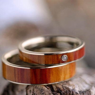 Tulipwood Ring Set In White Gold, Natural Wedding Bands, Diamond Engagement Ring-2383 - Jewelry by Johan