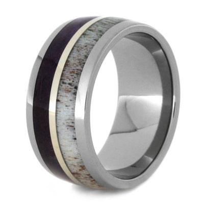 Purple Wood And Antler Wedding Band-2352 - Jewelry by Johan