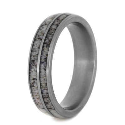 Women's Wedding Band with Antler Inlay
