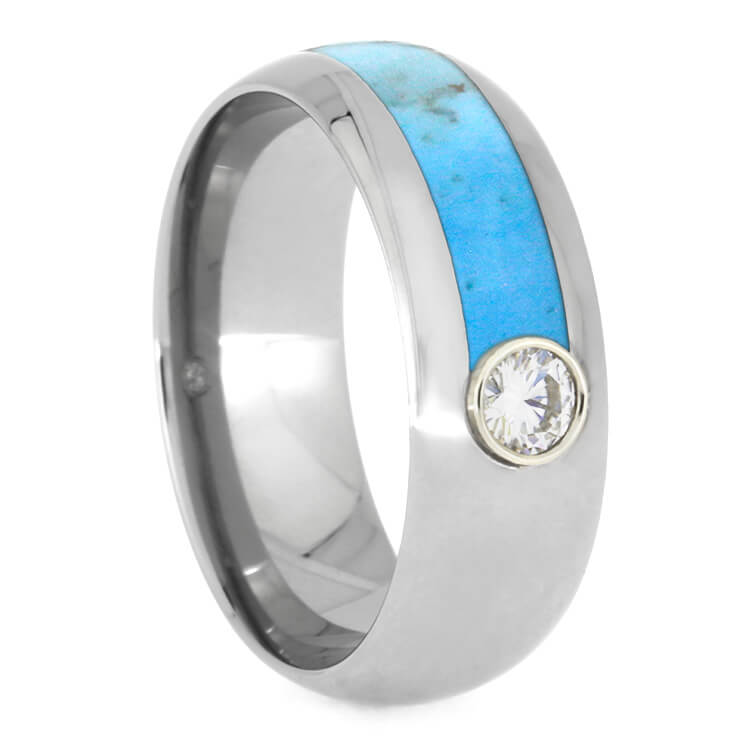 Mens Asymmetrical Turquoise Ring With Moissanite, Titanium-3478 - Jewelry by Johan