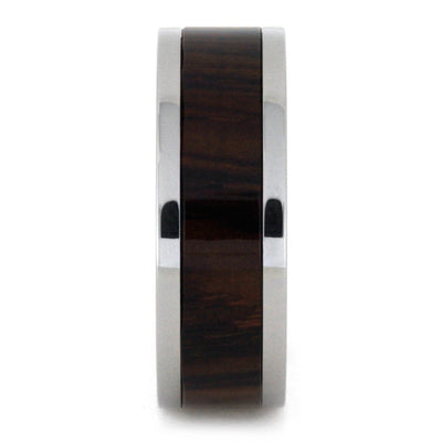 Wood Wedding Band, Titanium Ring with Cocobolo Wood Inlay-3259 - Jewelry by Johan