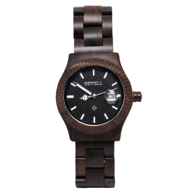 Black Sandalwood Watch With Textured Frame And Peace Symbol-ZSW1024