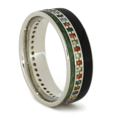 White Gold Ring with Blackwood, Green Box Elder, and Gemstones-1772 - Jewelry by Johan
