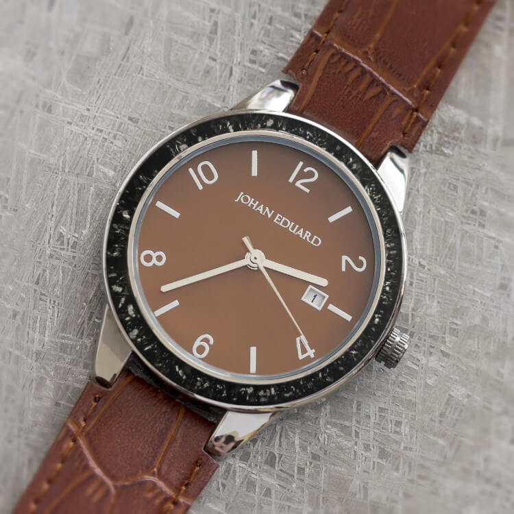 Black Stardust Meteorite Wristwatch With Brown Leather Strap