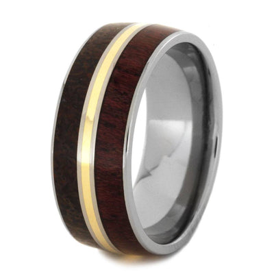 dinosaur bone ring with purple heart wood