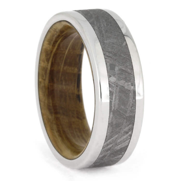 Whiskey Oak Wood And Meteorite Band In Platinum, Size 7-RS9889 - Jewelry by Johan