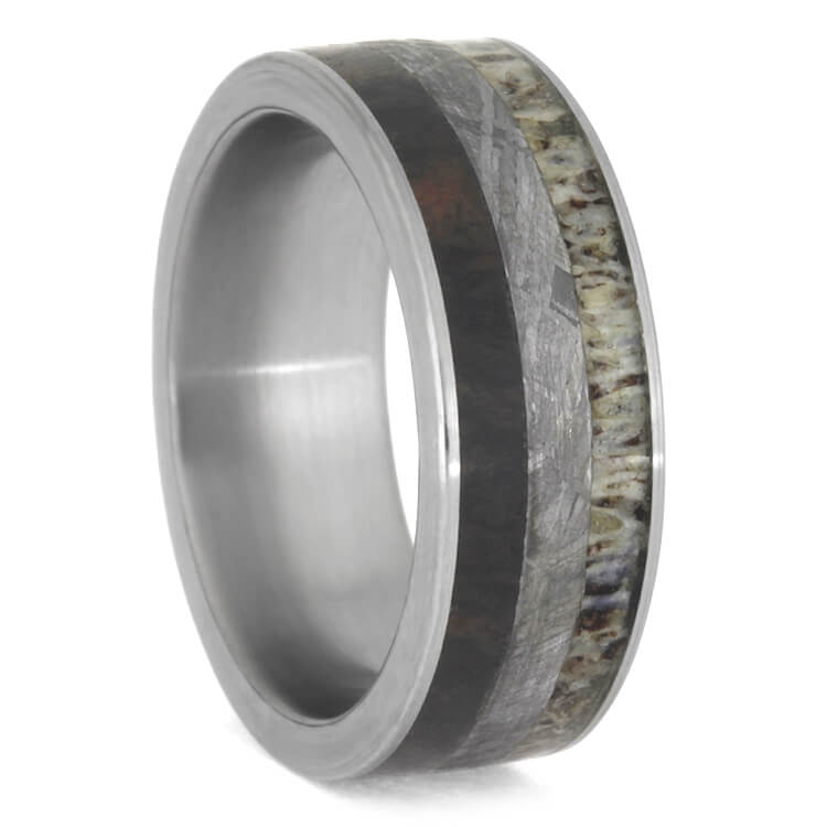 Antler, Meteorite and Petrified Wood Men's Wedding Band