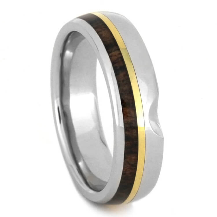 Custom Platinum Wedding Band With Caribbean Rosewood And Gold-3139 - Jewelry by Johan
