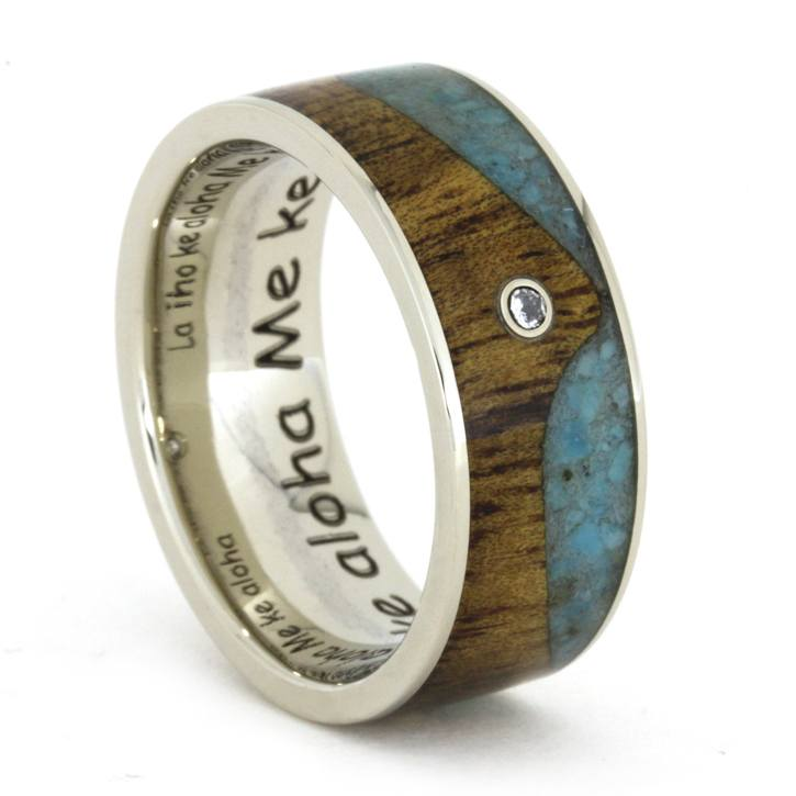 Diamond Wedding Band with Wave Designed Turquoise and Koa Wood-1794 - Jewelry by Johan