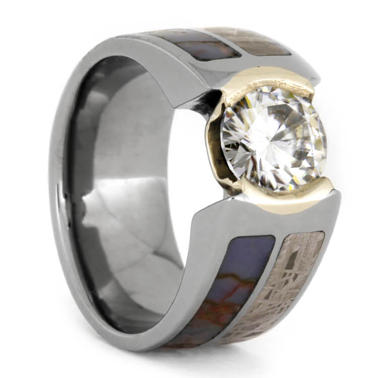 Moissanite Engagement Ring With Meteorite And Dinosaur Bone, Size 5-RS9567 - Jewelry by Johan